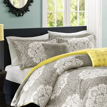 Bella Medallion Grey Bedding Set