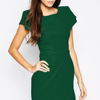 Green Origami Sleeve Asymmetrical Mini Dress