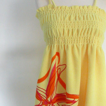 Swimsuit Cover Up  70s yellow dress terry by roguegirlvintage