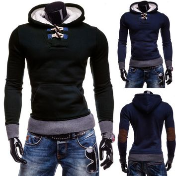 New Unique Mens Hoodie with Elbow Patches