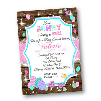 Easter Baby Shower invitation - rustic wood and lace easter egg chicks some bunny is having a boy girl pink teal blue purple invite shower