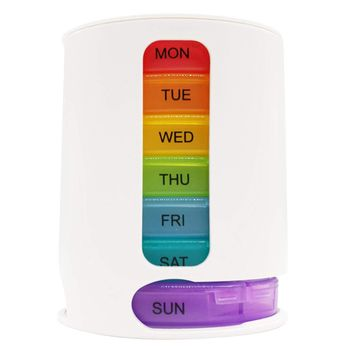 PuTwo Pill Box 7 Days Stackable Pill Tower Weekly Portable with Large Capacity Medicine Organizer BPA Free Travel Medicine Box Detachable for Vitamin Fish Oil Aspirin Advil Supplements - Rainbow