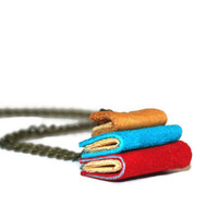 Miniature Library Necklace - Bright Leather Books - Library books -Teachers Gift - Teen Gift