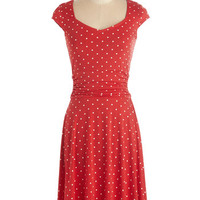 Mid-length Cap Sleeves A-line Ready, Wheeling, and Able Dress in Red Dots
