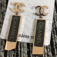 CHANEL New Fashion Square Letter Long Section Earring Accessories Women Golden