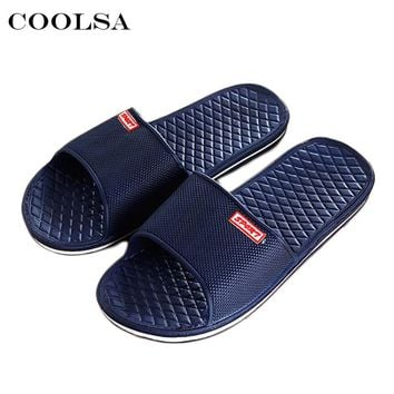 Coolsa Hot Summer New Men Beach Slippers Couple Bathroom Sandals Solid Flat Man Indoor Flip flops Zapatillas Casual Massage Shoe