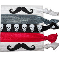 My Mustache  Non Damaging Knotted Elastic Hair Tie Bracelet 5 Pack