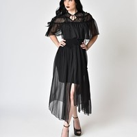 Black Goth Vintage Ballerina Two-Piece Sun Dress