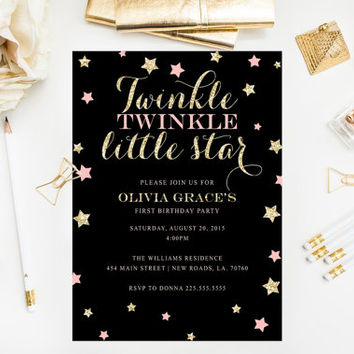 Twinkle Twinkle Little Star Invitation Pink Gold Birthday Party Gold Glitter Invitation Printable First Birthday Invitation