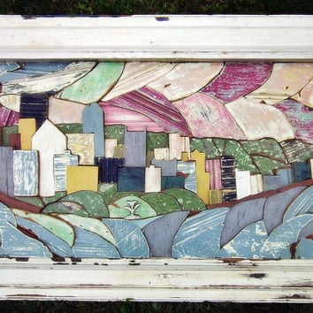 Pittsburgh Mosaic, Reclaimed Wood Art, City Skyline Portrait, Mosaic Landscape Art, Wood Wall Art, Wood Mosaic Art, Mixed Media Art