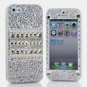 iphone 5 5S 5C 4/4S - Samsung Galaxy S3 S4 S5 Note 2 3 Handcrafted Case Cover 3D Luxury Bling AB Crystal Diamond Sparkle Silver Beauty_905