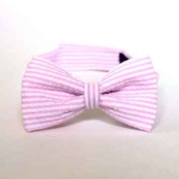 Boy's Bow Tie - Pink Seersucker - any size