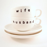 Hand Painted Husband and Wife Espresso Cups by simplyprettyprints