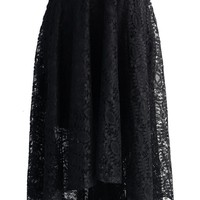 Full Lace Waterfall Skirt in Black