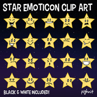 Star Emoticon Clip Art, Star Clip Art, Star Faces, Emoji Graphic, Star Emotions, School Download, Facial Expressions, Teacher Download