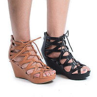 Dye1 Open Toe Cut Out Corset Lace Up Platform Wedge Heels