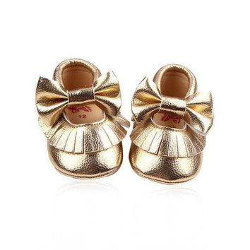 LMFIW1 Baby Girl Shiny Shoes Butterfly-Knot Moccasins First Walker