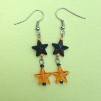Orange and Black Dangle Double Star Beaded Earrings