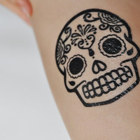 Sugar Skull Temporary Tattoo, Modern Art, Large Temporary Tattoo, Tattoo Temporary, Day Of The Dead, Mexico, Black & White, Minimalist Art