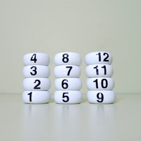 12 Vintage Helvetica Porcelain Numbers Napkin Rings, Graphic Design