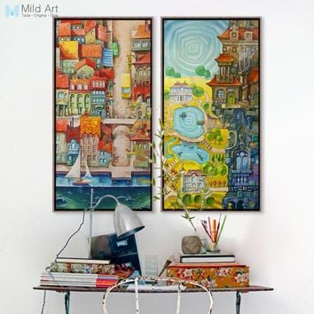Vintage Colorful City River Landscape Ship Posters Prints Living Room Wall Art Pictures Home Decor Canvas Oil Paintings No Frame