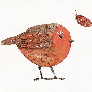 Bird No.36 - Bird Art Print, Limited Edition - Watercolor Painting by Lorisworld