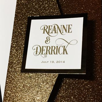 Gold Glitter Wedding Invitation, Luxury Wedding Invitation, Elegant Wedding Invitation - REANNE VERSION GLITTER POCKETFOLD