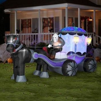 INFLATABLE ANIMATED AIRBLOWN KALEIDOSCOPE HAUNTED CARRIAGE 12' LONG