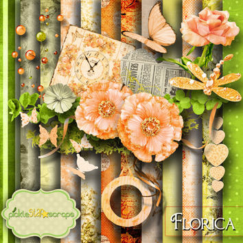 Florica Digital Scrapbooking Flower Scrapbook Digital Scrapbook Kit Printable Backgrounds 12x12inch Printable Papers FREE Quickpage Layout