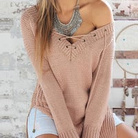 Knit V-Neck Strappy Loose Top Sweater