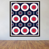 "Original digital print, Mod era and The Who inspired, Who Are We, retro print, 16"" X 20"", navy, coral, white"
