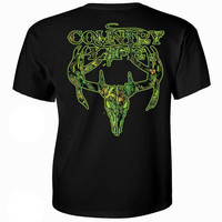 Country Life Outfitters Black & Green Camo Realtree Deer Skull Head Hunt Vintage Unisex Bright T Shirt