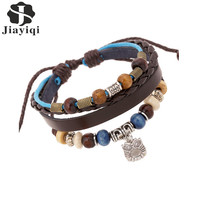Jiayiqi 2017 Vintage Silver Plated Owl Pendant Genuine Leather Rope Beaded Bangle & Bracelet Men's Jewelry Hot