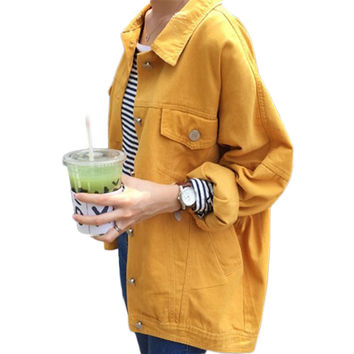 Candy Color Street Style Denim Jean Jacket
