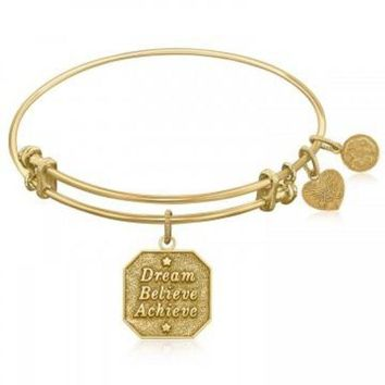 ac NOVQ2A Expandable Bangle in Yellow Tone Brass with Dream Believe Achieve Symbol