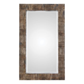 Barlow Large Scale Rustic Wood Rectangular Framed Wall Mirror by Uttermost