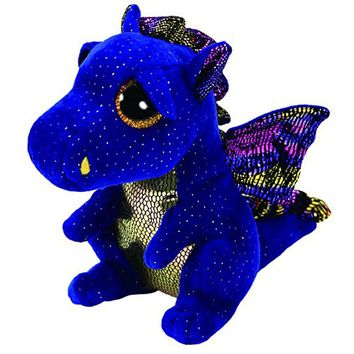 "Pyoopeo Ty Beanie Boos 6"" 15cm Saffire the Dragon Plush Regular Soft Big-eyed Stuffed Animal Collection Doll Toy with Heart Tag"