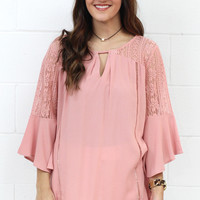 Beautiful Soul Lace Accent Bell Sleeve Blouse {Mauve}