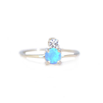Double Dose Ring (blue opal and diamond)