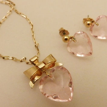 Avon Gold Tone Pink Lucite Heart Jewelry Set, Necklace and Earrings