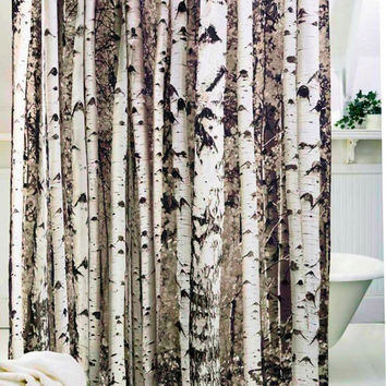 New Creative  Birch Tree Shower Curtain