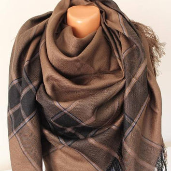 EXPRESS SHIPPING ! Plaid blanket scarf,Brown tartan plaid Flannel wrap shawl scarf men's women blanket scarf gift fashion Tartan scarf