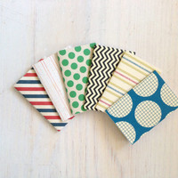 Notebooks: 6 Tiny Journals, Small Notebooks, Striped, Polka Dot, Blue, Green, For Him, Kids, Gift, Unique, Party Favors, Wedding, T135