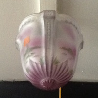 Antique Victorian Ceiling Light Fixture Hand Painted Shade Pale Lavender 1920s
