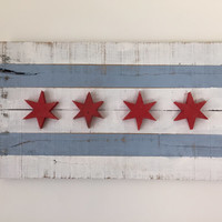 Reclaimed Pallet Chicago Flag with 3D stars