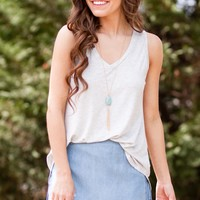 V-Neck Tank Top in Heather Grey