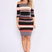 Hold Him Tight Striped Dress - Pink Multi