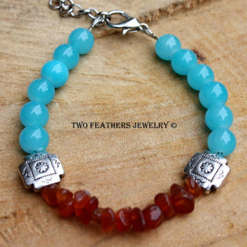 "Turquoise and Carnelian - ""Sunset"" - Beaded Bracelet with Turquoise Glass Beads and Genuine Carnelian - Southwestern Inspired - Gift For Her"