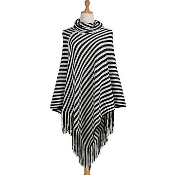 [13759] Stripe Black White Fringe Striped Shawl Knit Sweater