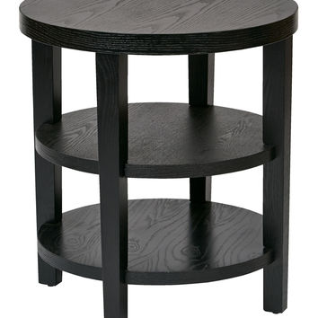 "Ave Six Merge 20"" Round End Table Black Finish"